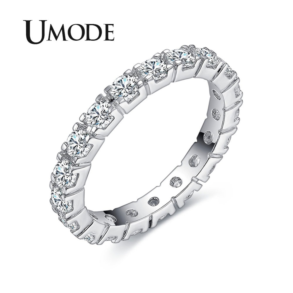 UMODE New Hot Gifts White Gold Plated 0.1ct Round Simulated Diamond Circle Wedding Eternity Rings Bands Jewelry for Women UR0357 men beaded bracelet red