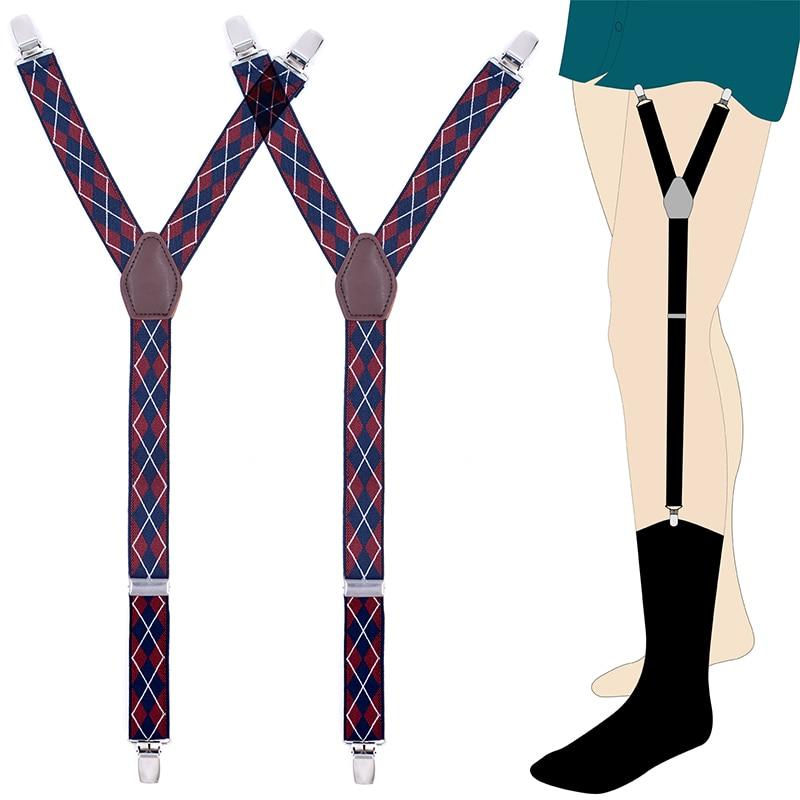 Mens Shirt Stays Garters Elastic Nylon Shirt Holders Crease-Resistance Belt Stirrup Style Suspenders Braces Tuck Sock Suspenders
