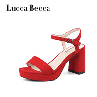Lucca Platform Sandals Women Soft Leather High Heels Party Shoes Slingback Buckle Strap Red Shoes Woman Gladiator Sandalias New