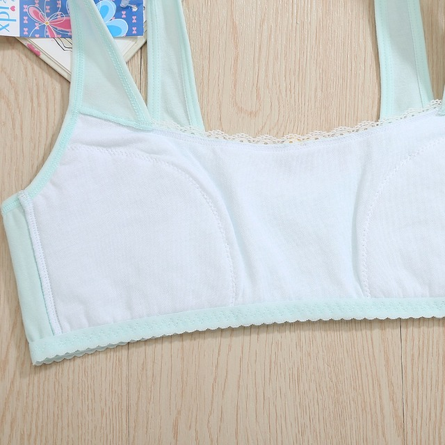 New Feichangzimei Teen Girl Underwear Sport Bra Yellow/Green AA Cup Cotton Comfortable Training Bras  2 Pack For Girls -18003