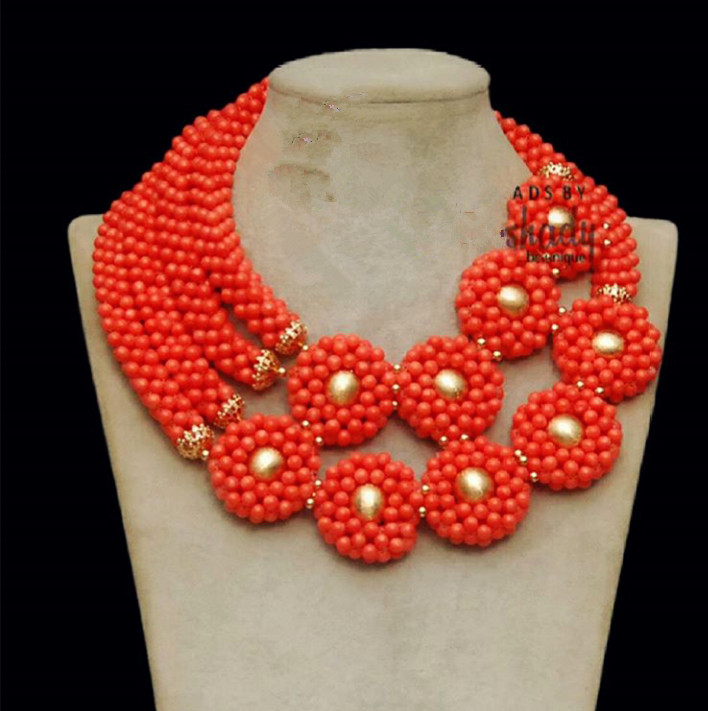 Natural Coral African Jewelry Sets Fantastic Nigerian Wedding Dubai Gold Chunky Statement Necklace Set New Free Shipping ABH426Natural Coral African Jewelry Sets Fantastic Nigerian Wedding Dubai Gold Chunky Statement Necklace Set New Free Shipping ABH426