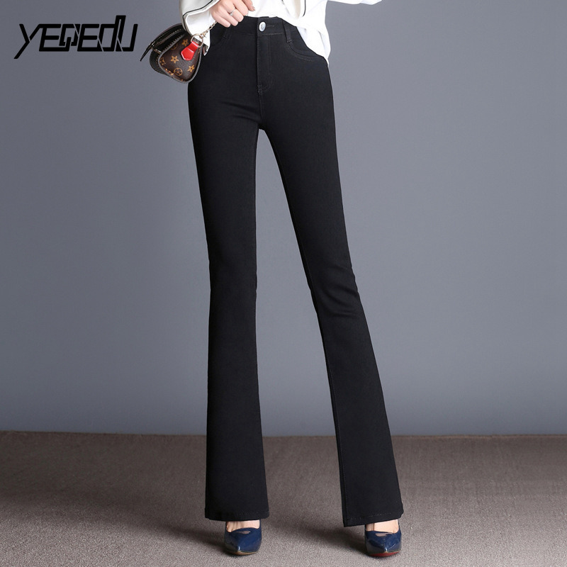 6602 Black Flare Jeans Women High Waist Stretch Denim Jeans Womens