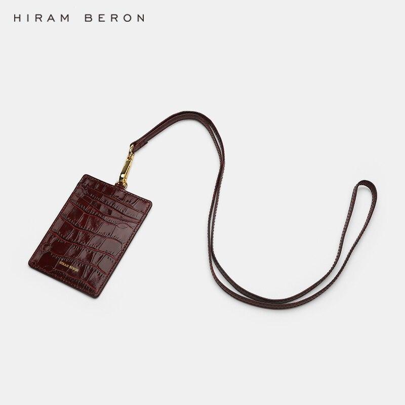 Hiram Beron Custom Name Service Name Tag work card ID holders Italian leather with lanyard Business Style