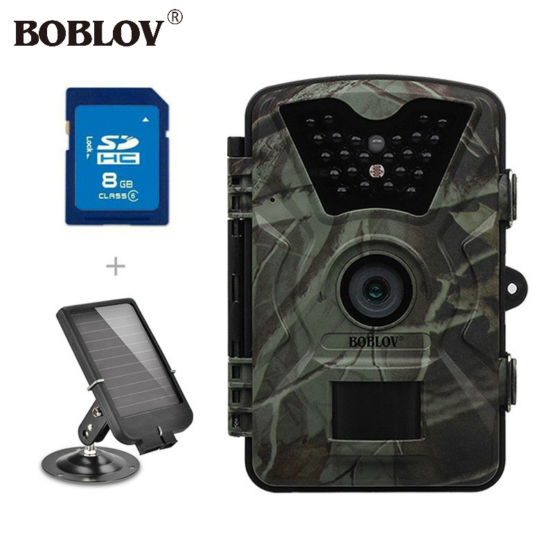 BOBLOV CT008 Hunting Night Camera HD 940NM Digital Scouting Trail Game Cam Fast Trigger 0.5S + 6V Solar Battery + SD 8GB Card