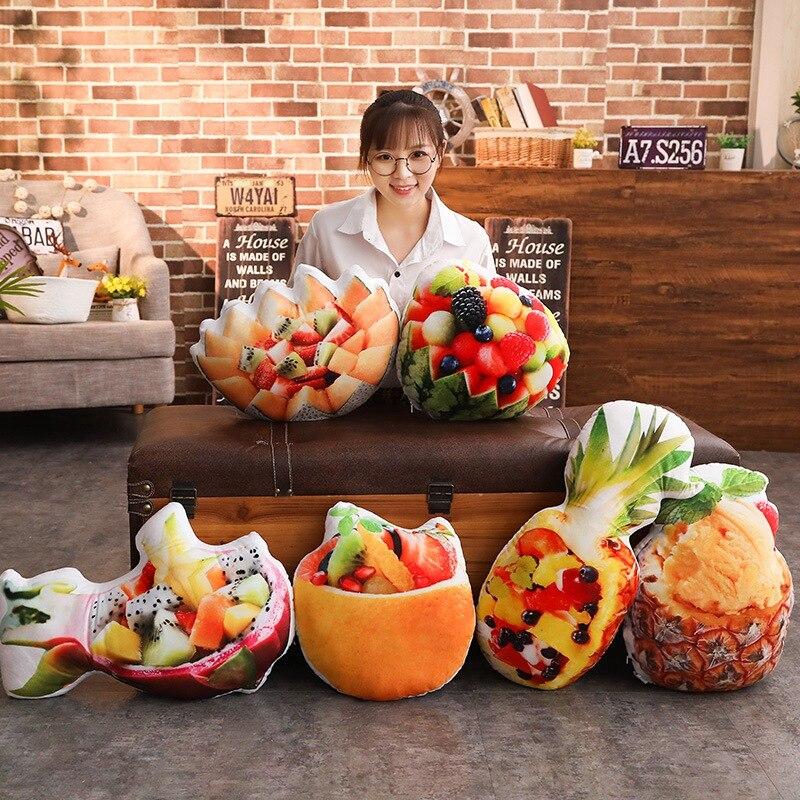 Toys & Hobbies Fruits Salad Plush Pillow Summer Stuffed Food Icecream Pillow Pineapple/watermelon/dragon Fruit/hami Melon Snack Throw Pillow At All Costs