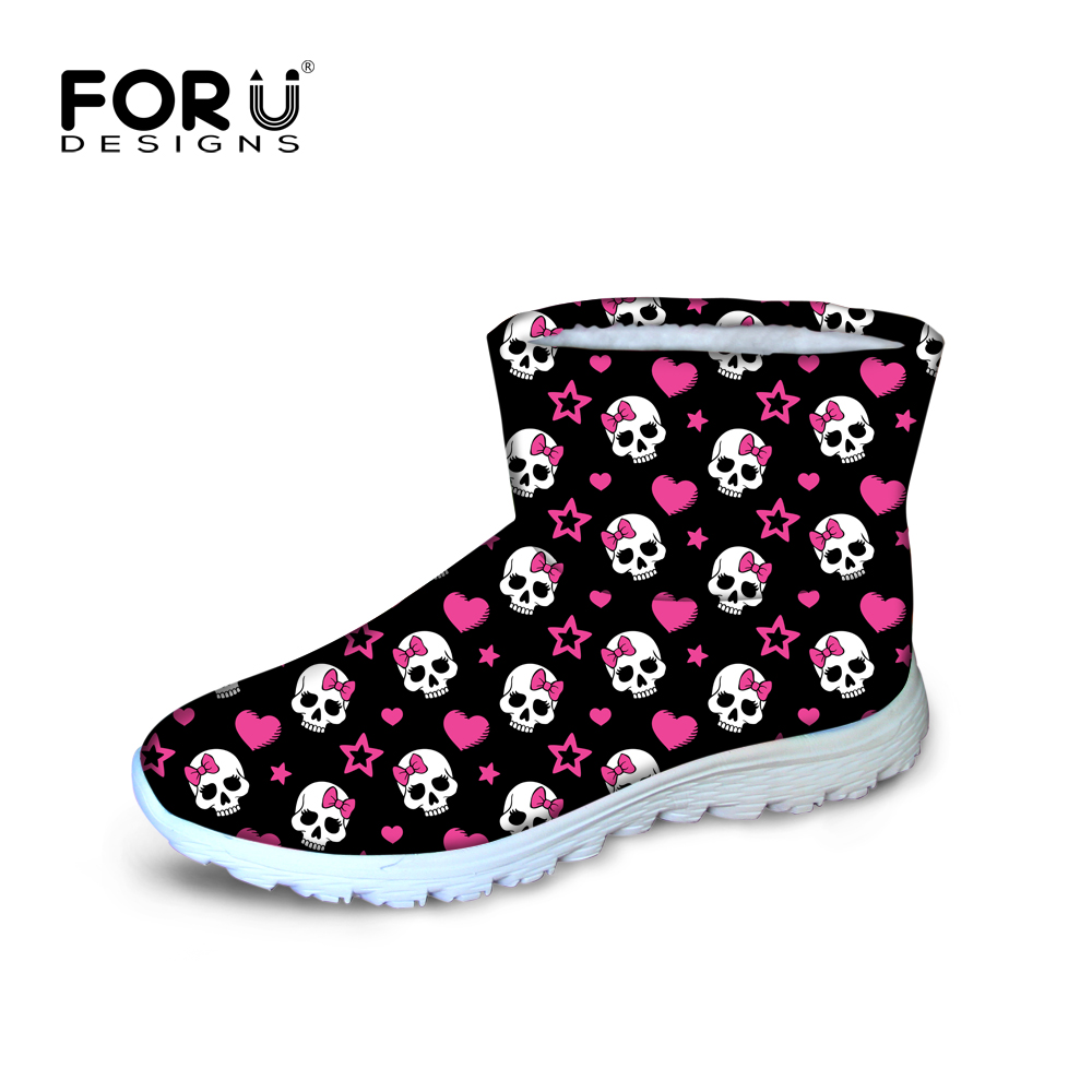 ФОТО European style skull women's snow boots waterproof non-slip warm high quaility ankle botas for ladies classic black botte femme