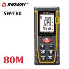 T80 SNDWAY telémetro medidor de distancia láser 80 m 262ft trena laser range finder medida de cinta Herramientas probador de nivel de Burbuja