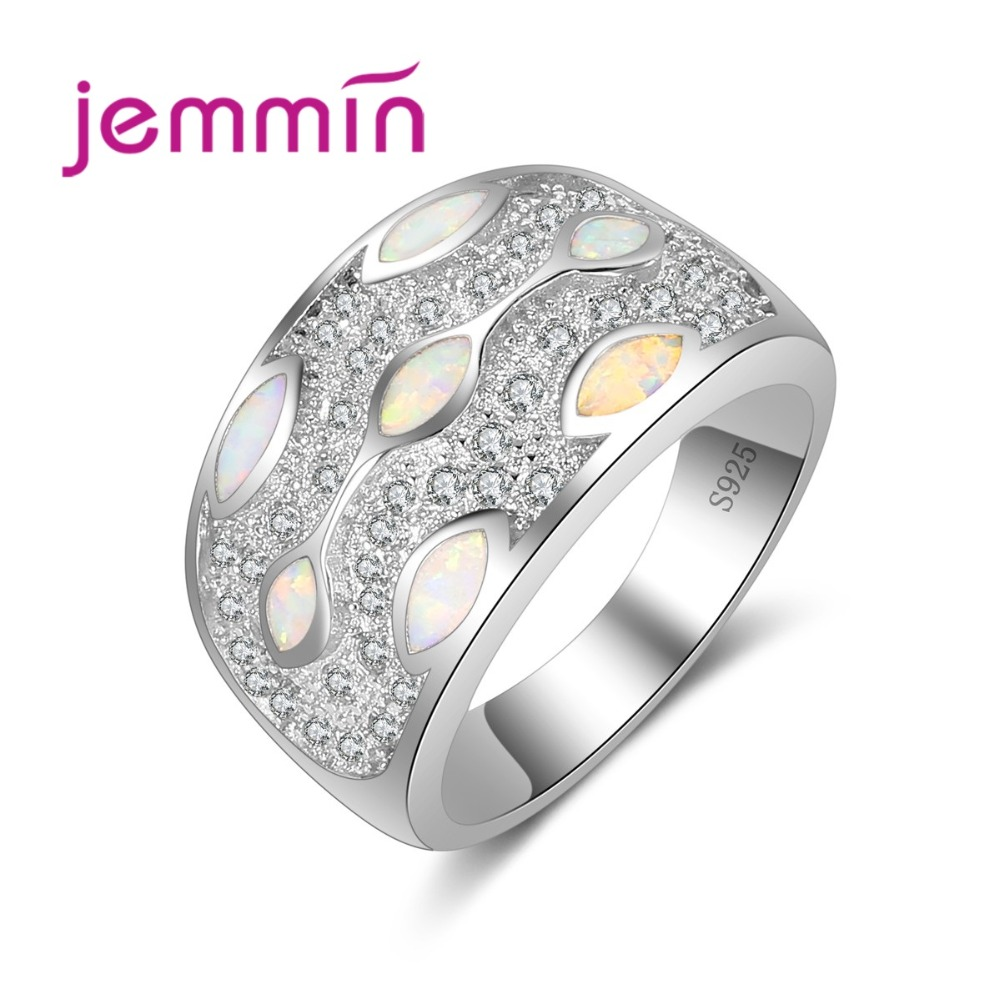 Women Wide Wedding Finger Ring Brand 925 Sterling Silver Jewelry Micro Inlay Full White Cubic Zirconia Crystal White Opal Ring