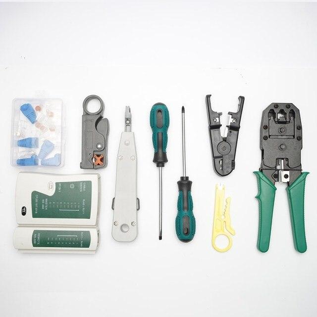 14 pcs/set lan tester RJ45 Crimping pliers Portable LAN Network Repair Tool Kit Cable Tester AND Plier Crimp Crimper Clamp 2
