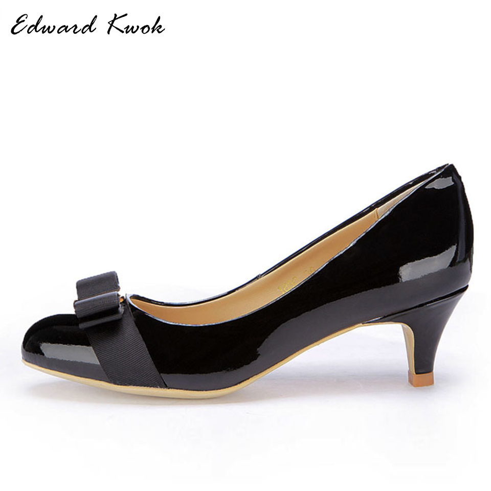 Aliexpress.com   Buy 2018 New Women Shoes Mid High Spike Heels Genuine  Leather Wedding Shoes Pumps Bow Heels DA030 from Reliable Women s Pumps  suppliers on ... ffaaa6c8b7bb