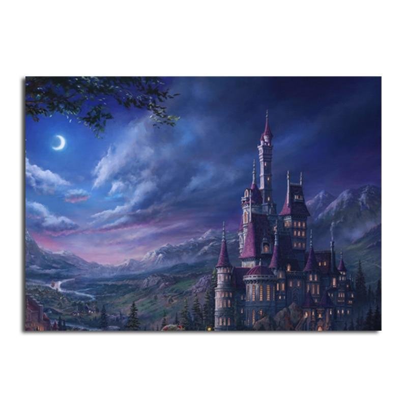 Diamond Painting Castle Beauty Beast Cross Stitch Diamond Embroidery Night Scenery Mosaic Full Square Round Rhinestones Diamond Painting Cross Stitch Aliexpress