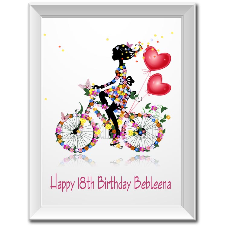 graphic relating to Wall Art Printable titled US $7.19 40% OFFPersonalized 18th Birthday present Bicycle Lady poster print canvas portray wall artwork printable dwelling mattress space house decor images-inside of