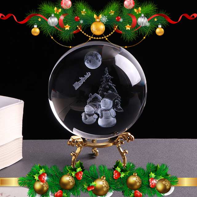 80mm Snowman Crystal Ball 3d Miniature Laser Engrave Christmas