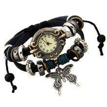 Лидер продаж модные женские туфли повседневные наручные часы с этническом стиле Бабочка Pandent кожаный браслет ретро