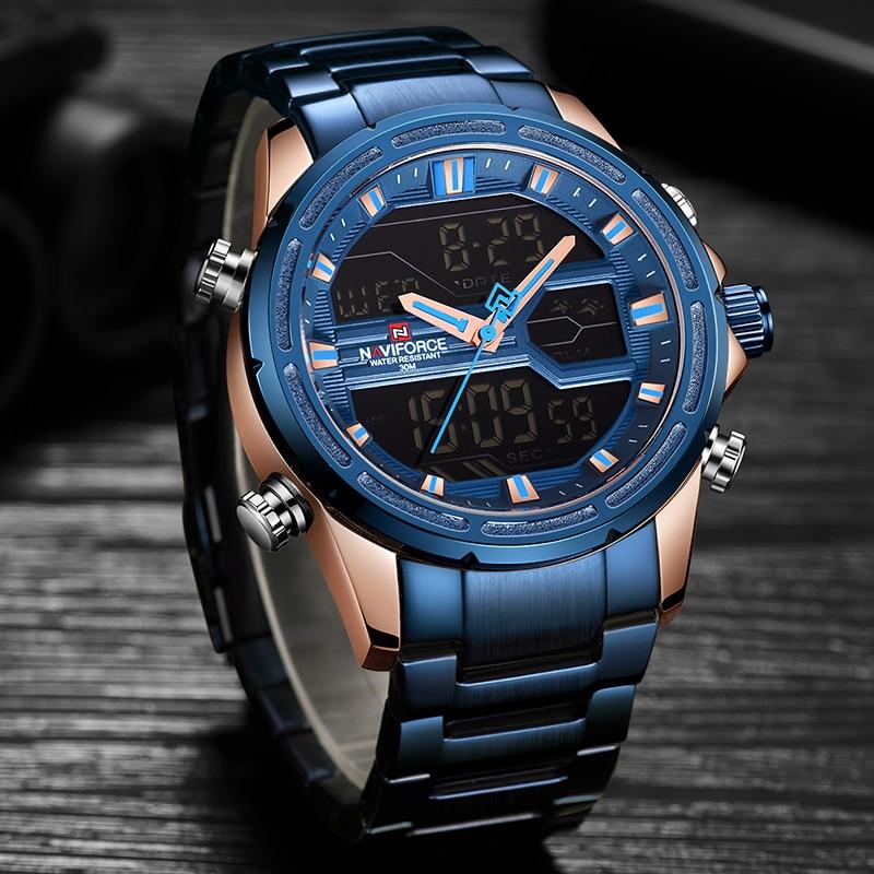 NAVIFORCE Top Brand Men Military Sport Watches Mens LED Digital Business Watch Male Fashion blue Quartz Clock Relogio Masculino все цены