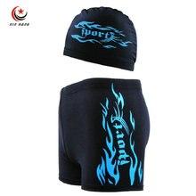 A Set 2Pcs New Mens Professional Competitive Swim Trunks Caps Boys Swimwear Swimming Shorts For Men Beach Diving Swimsuit XL-3XL