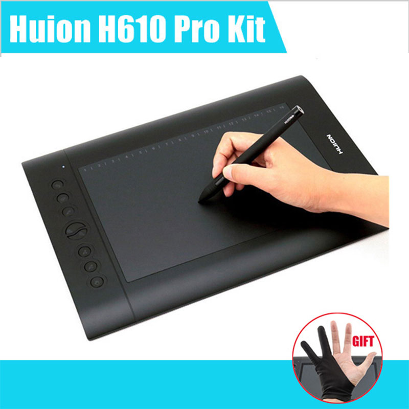 Huion H610 Pro Art Graphics Drawing Tablet 10x6.25 with Rechargeable Digital Pen for Mac and Windows huion h610 8 expresskey usb graphic pen tablet black