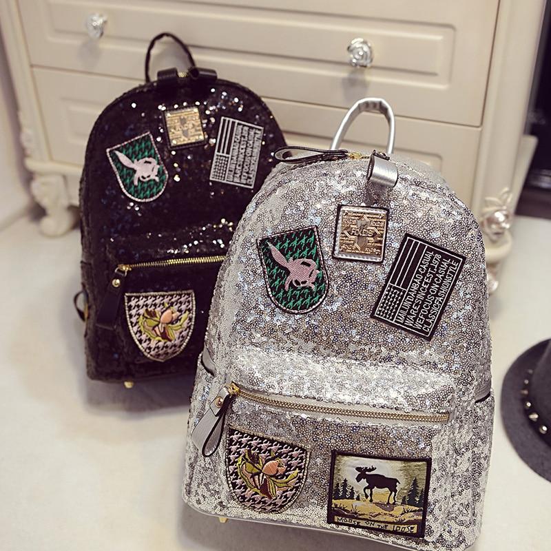 Female star with a backpack bags 2019 spring backpack bag bag Korean tide Sequin sequins 5