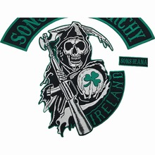 IRELAND SONS OF Biker Rider Embroidered Anarchy Iron On Back of Jacket Patch Black twill fabric Free Shipping DIY Eco-Friendly