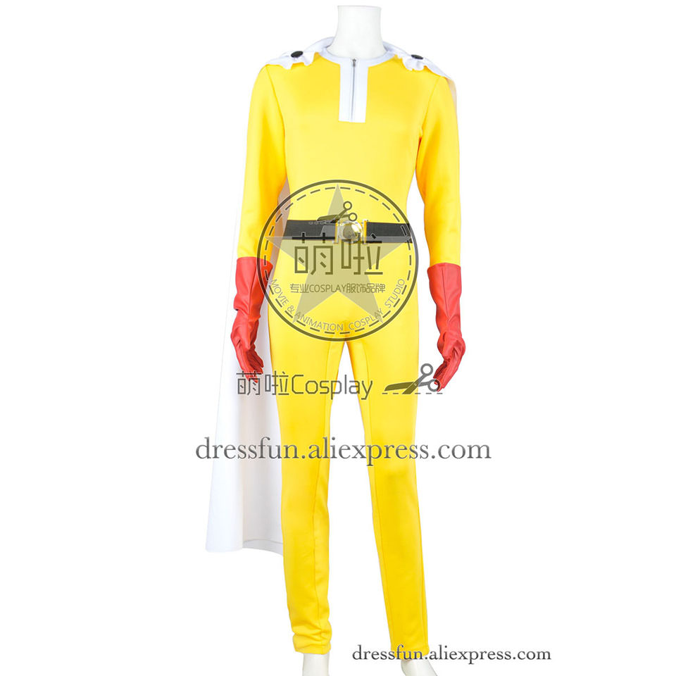 One-Punch homme Cosplay Saitama Caped Baldy Hage Manto Costume combinaison tenues gants uniforme Halloween fête cape adulte