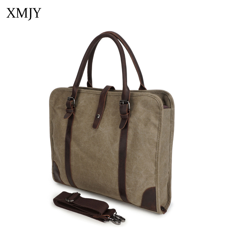 XMJY Men Canvas Handbag Business Casual Shoulder Messenger Bag Tote Male Computer Laptop Briefcase Large Capacity Crossbody bags vintage canvas travel shoulder bag men messenger bags fashion cover crossbody bag large capacity male multi function laptop bags