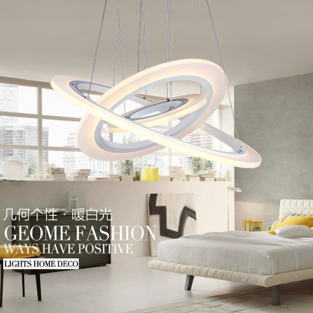 Modern LED chandeliers 3 rings DIY Acrylic suspension lamp AC90 260V