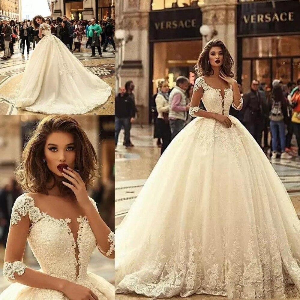 Manches Blanc Magnifique En Robes Illusion Dentelle Appliques Robe Grande Taille 2018 Novia Bal De Demi Vintage Mariée zvadqpa