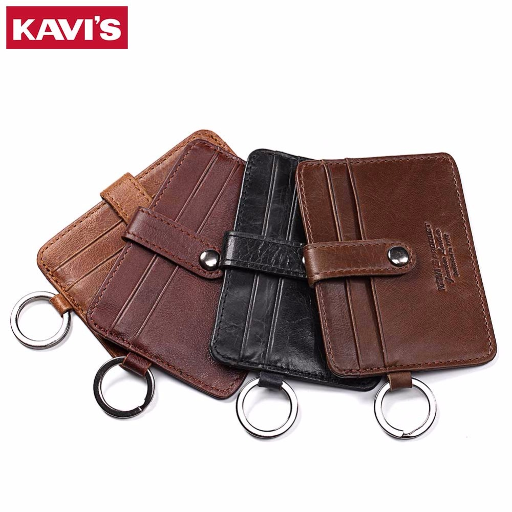 купить KAVIS Fashion Hasp Leather Credit Card Wallet Color Men Credit ID Card Holder Small Wallet Coin Purse Slim Thin Male Mini Walet по цене 679.3 рублей