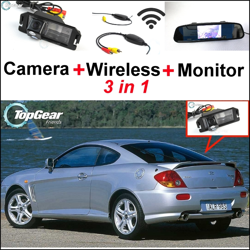 3 in1 Special Rear View Camera + Wireless Receiver + Mirror Monitor Back Up Parking System For Hyundai Coupe S3 Tuscani Tiburon цены