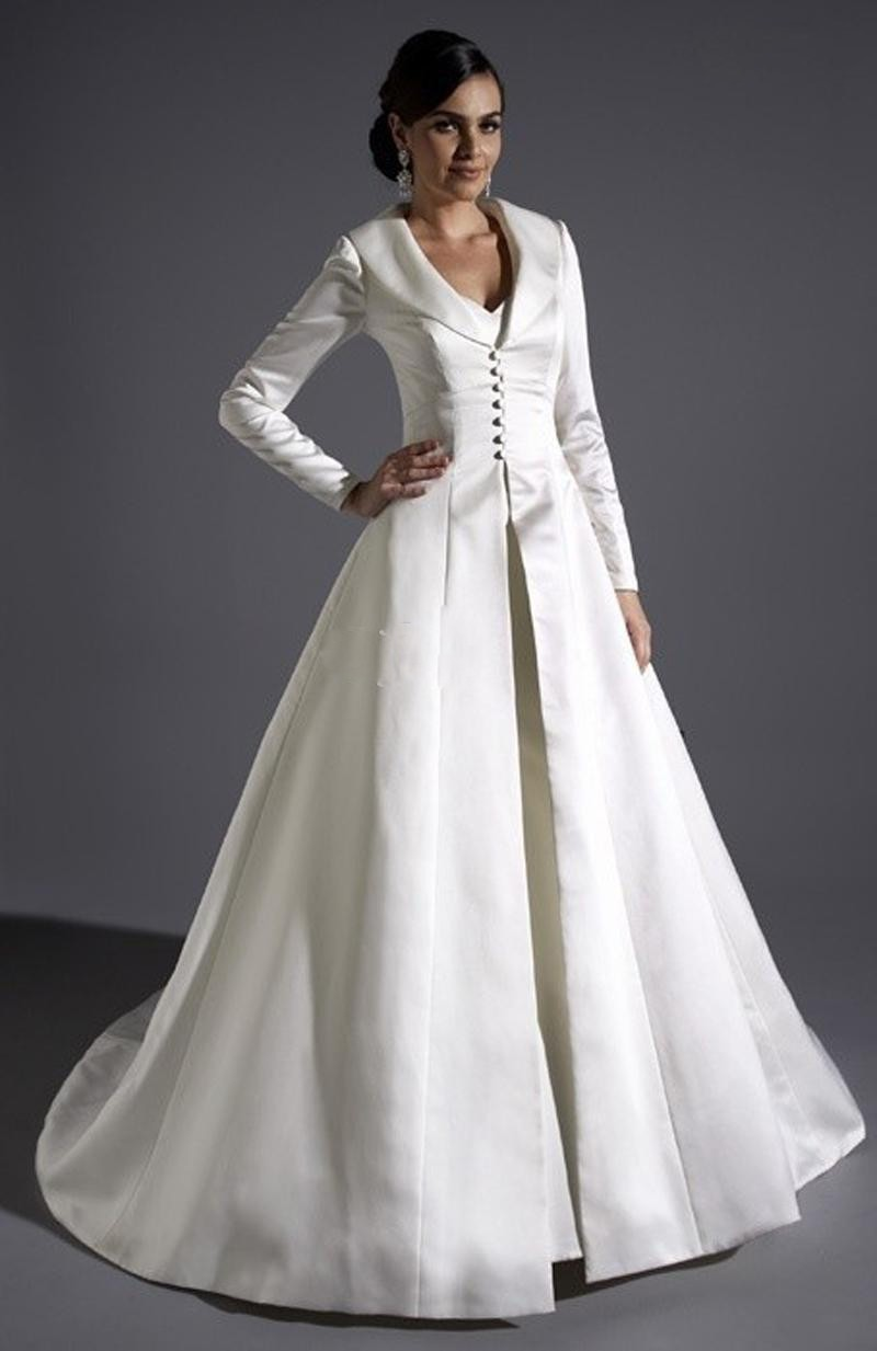 Gothic wedding shop - Ivory Two Piece Victorian Gothic Wedding Dresses With Overcoat Mermaid V Neck Satin Wedding Gowns Vestido
