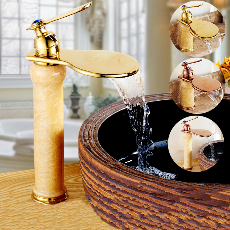 все цены на  European bathroom jade wash basin faucet waterfall, Kitchen sink faucets mixer water tap, Brass basin faucet cold and hot golden  в интернете