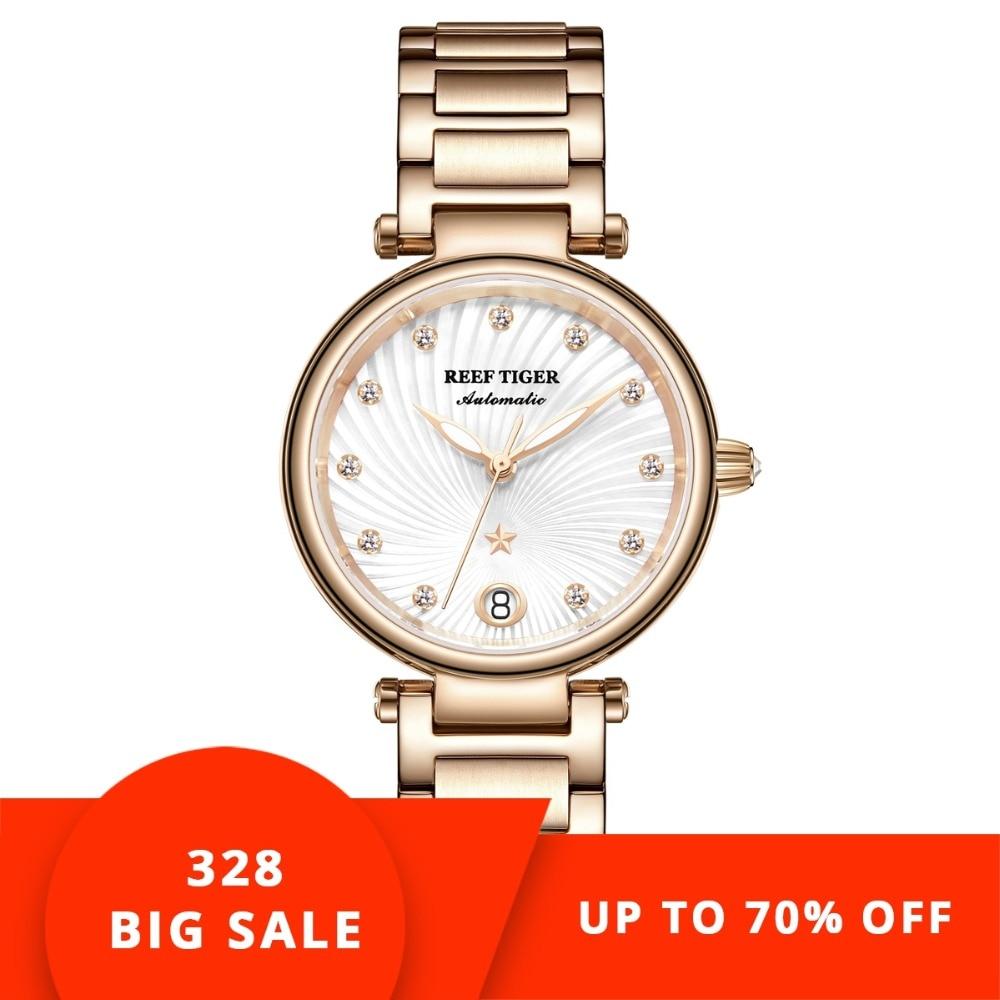 6388071f0 Reef Tiger/RT Brand Luxury Rose Gold Women Watch Diamond Polaris Dial  Automatic Bracelet Watches 2019 New reloj mujer RGA1590