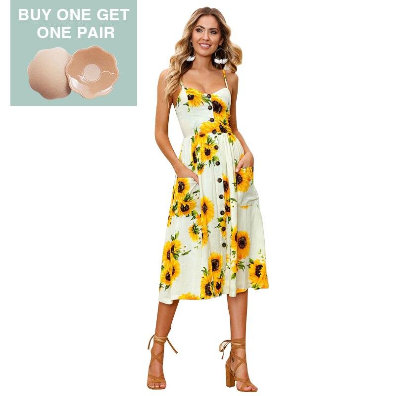 651b6d898 Sexy Vestido Ocasional Das Mulheres Vestidos de Verão Botão Midi Sem  Encosto de Bolinhas Listrado Floral Boho Do Vintage Vestido de Praia Roupas  Femininas # ...