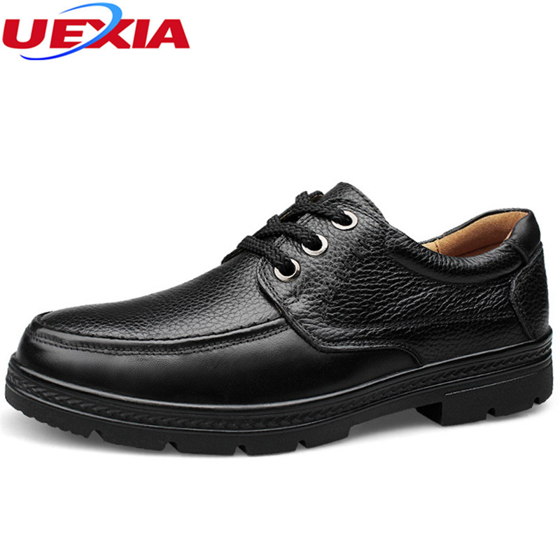 UEXIA Shoes Men Fashion Ankle Casual Working Tooling Dress Shoes Cow Leather Design Lace-Up Brown Flats Breathable Plus Size 47 dekesen brand men casual shoes lace up 100% cow leather men flats shoes breathable dress oxford shoes for men chaussure homme