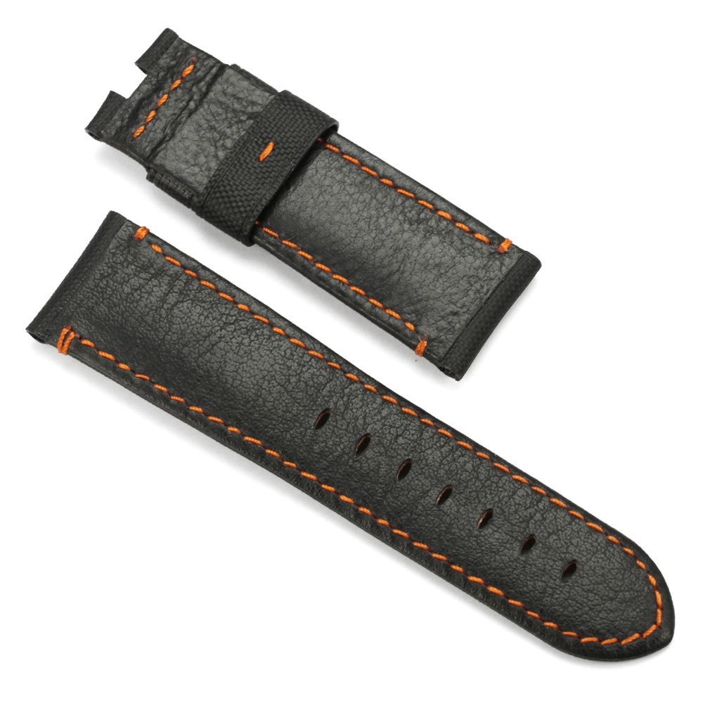 Image 3 - CHIMAERA 24mm Farbic+Leather Watchband For PAM Balck Vintage New fashion Watch Band Deployment buckle Watch Strap For Panerai-in Watchbands from Watches