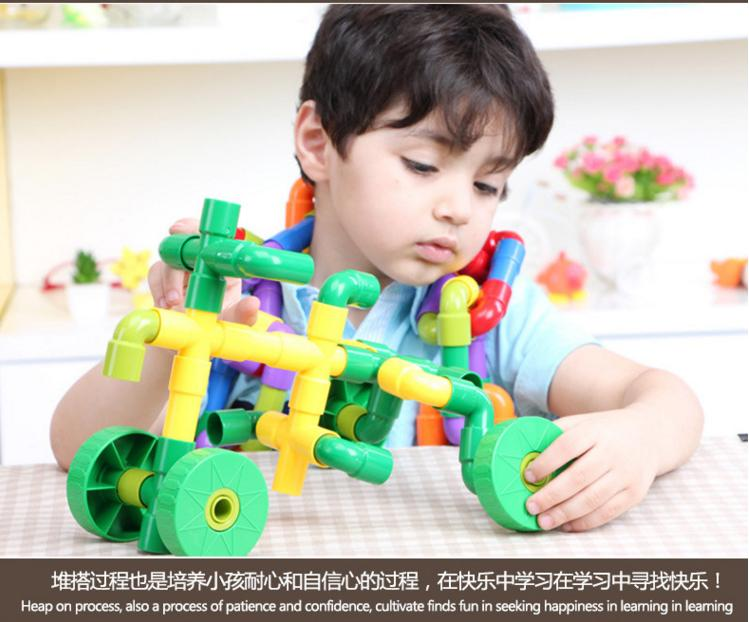 7Children Brand water pipe plug match building blocks/colorful Tunnel plastic assemble blocks for Kids educational toys