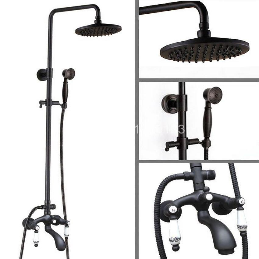 Black Oil Rubbed Bronze Wall Mounted Bathroom 8 Inch Rainfall Shower Faucet Set Bath Tub Water Tap Dual Ceramics Handles ahg135