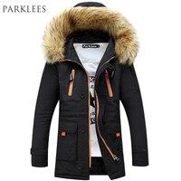 Brand Navy Parka Men 2015 Winter Jacket Men Fashion Design Big Fur Hooded Men S Long