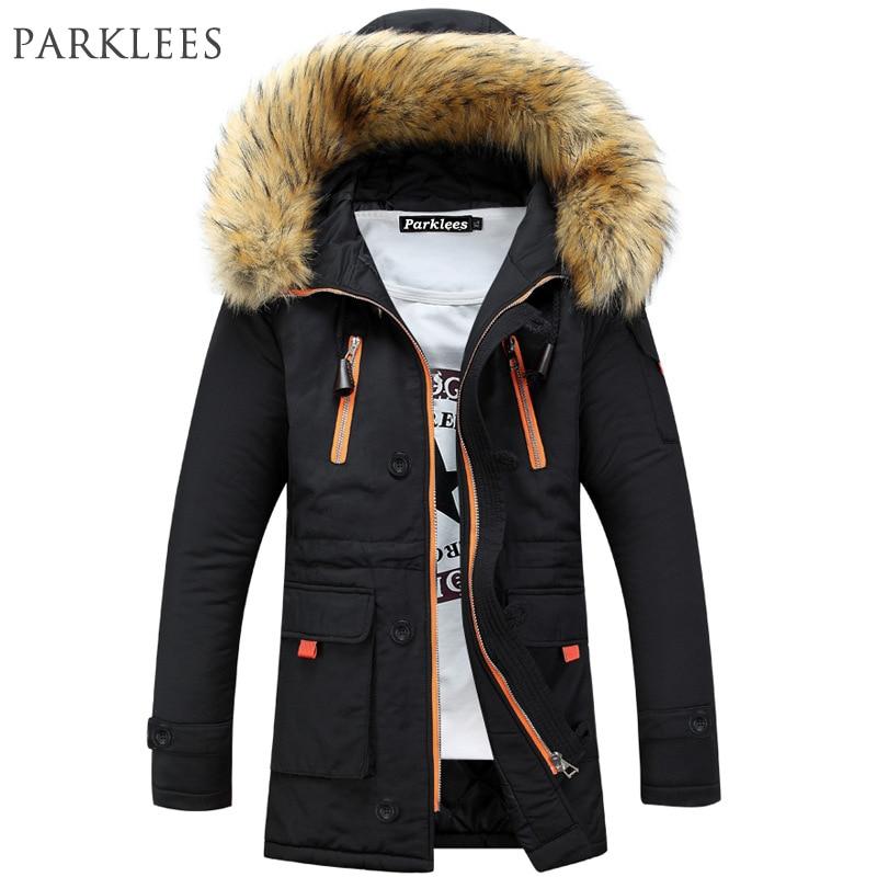 Marca Navy Parka Men 2017 Chaqueta de invierno de los hombres de diseño de moda de piel grande con capucha de los hombres de largo Down Jacket Coat macho Manteau Homme Hiver