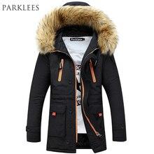 Бренд Темно-парка Для мужчин 2017 зимняя куртка Для мужчин модные Дизайн большой Мех с капюшоном Для мужчин; длинный пуховик пальто мужской манто Homme Hiver