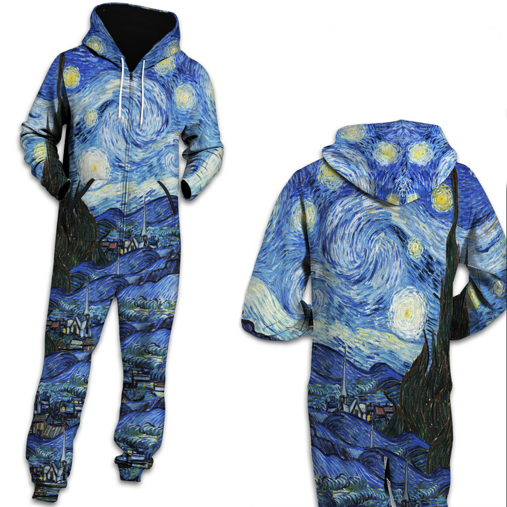 8bef1e5ed069 Van Gogh Classic 3D one piece jumpsuit unisex jump Sweatpants Casual Hooded  Jumpsuits Rompers Fashion Tracksuits