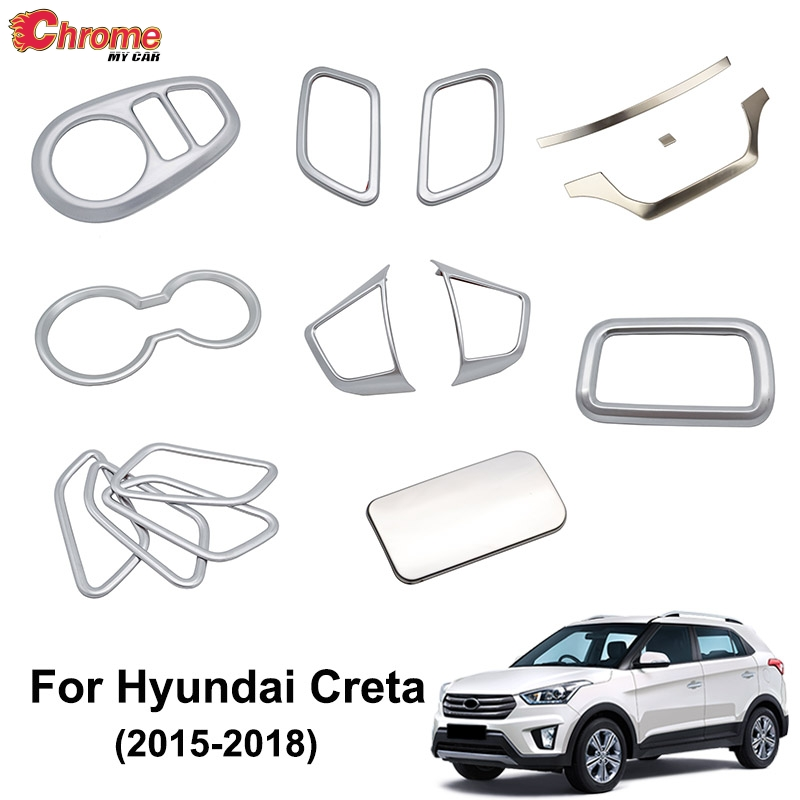 For Hyundai Creta IX25 2015 2016 2017 2018 Chrome Interior Door Handle Cup Holder Trim Cover Decoration Accessories Car Styling(China)