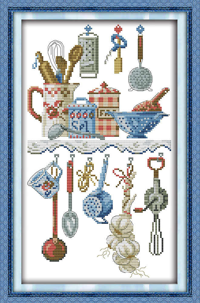 Kitchenware cross stitch kit cartoon kitchen DMC color thread 14ct 11ct printed canvas embroidery DIY handmade needlework plus