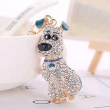Caliente de Corea del sur Crystal Cachorro de Perro Llavero llavero trinket Monedero Llavero Bolso Del Coche del Ornamento de La Boda