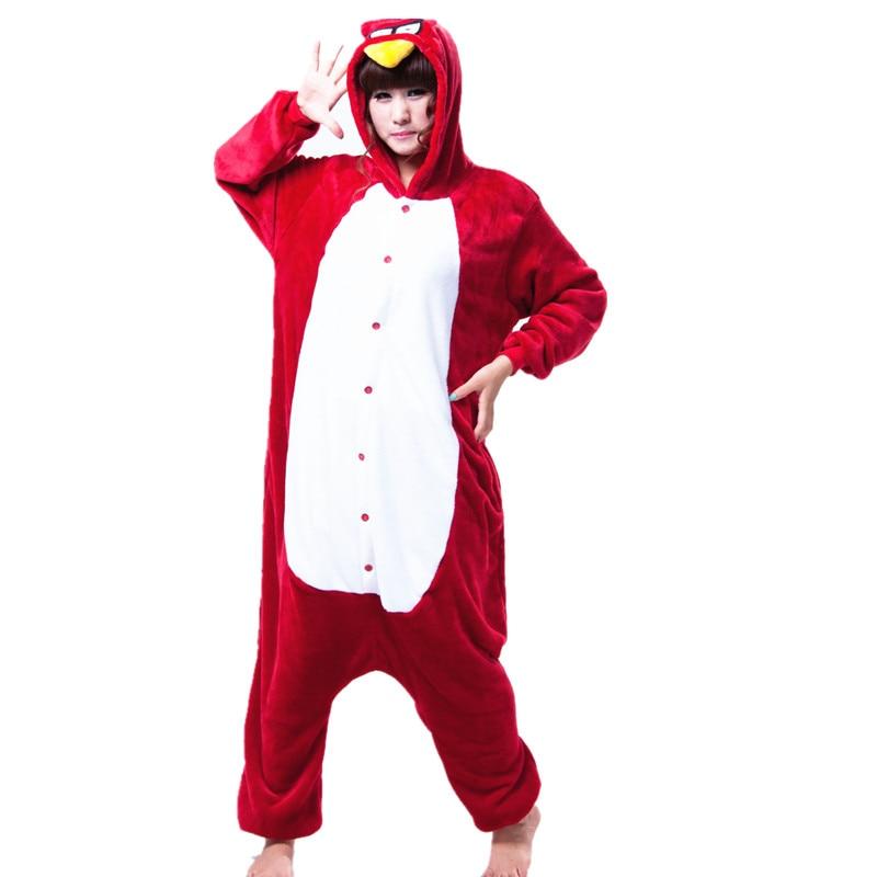 Adult Flannel Kigurumi Red Bird Animal Cosplay Costume Unisex Onesies Pajamas Halloween Carnival Masquerade Party Jumpsuit