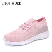 E TOY WORD 2019 New Women Sneakers Flat Lightweight Fitness Shoes Casual Socks Pink Black white Running baskets