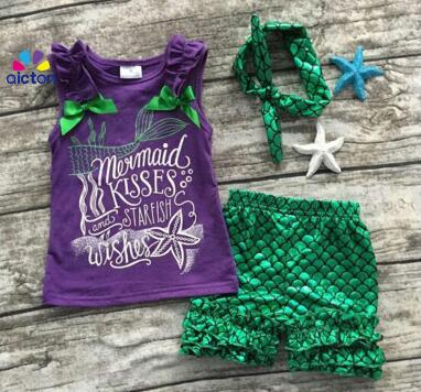 baby Girls Summer clothes baby girls boutique clothing girls mermaid kisses and starfish wishes outfits with matching headband kids clothes girls boutique clothing girls back to school outfits girls summer outfits with matching headband