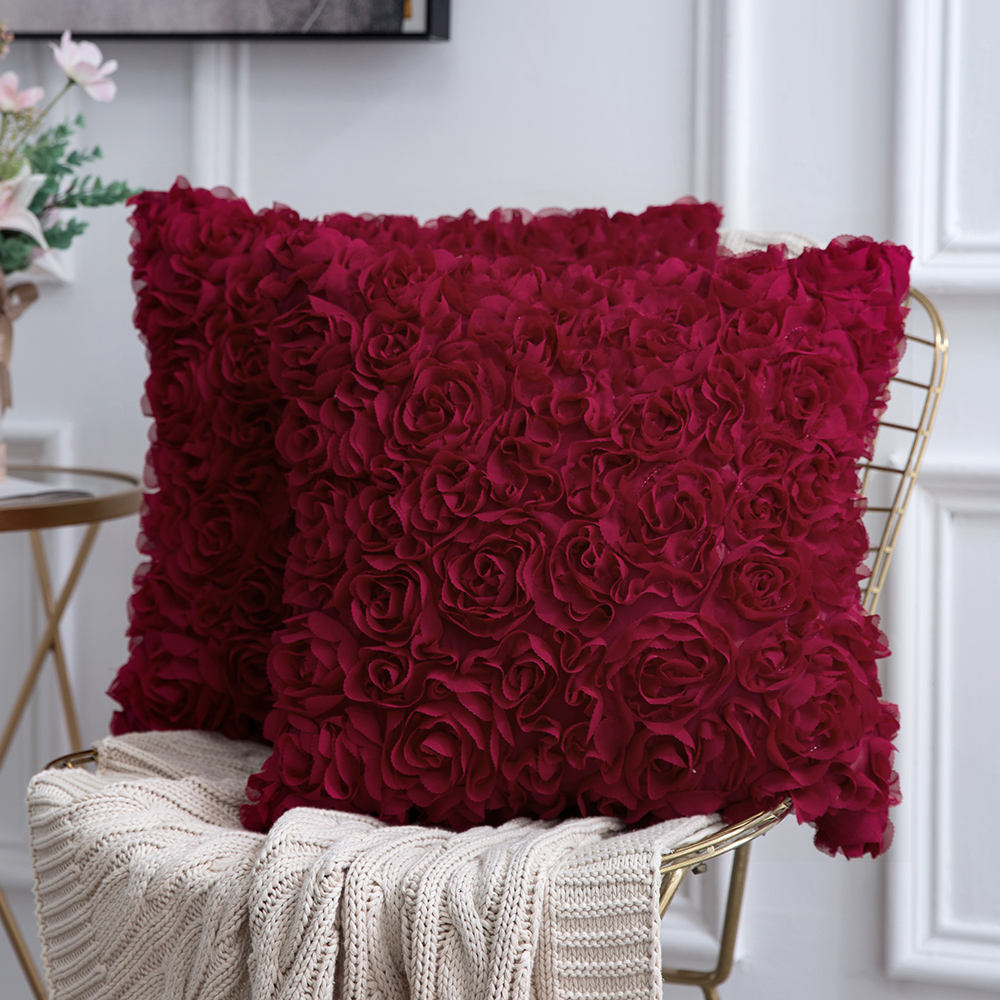 3D Decorative Romantic Stereo Chiffon Rose Flower Pillow Cover Solid Square Pillowcase For Sofa Bedroom Car