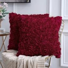 цена 3D Decorative Romantic Stereo Chiffon Rose Flower Pillow Cover Solid Square Pillowcase For Sofa Bedroom Car онлайн в 2017 году