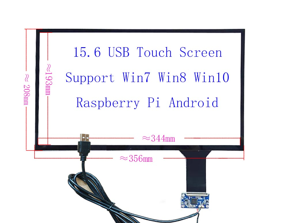 15.6 USB Capacitive Touch Screen  10Fingers Touch Support Raspberry Pi Win7 8 10 ILI2511